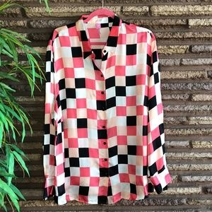 Basler Vintage Pink Black Checkered Blouse